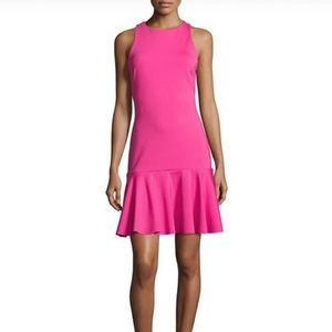 ASOS NWT Tall Hot Pink Fit and Flare Peplum Dress